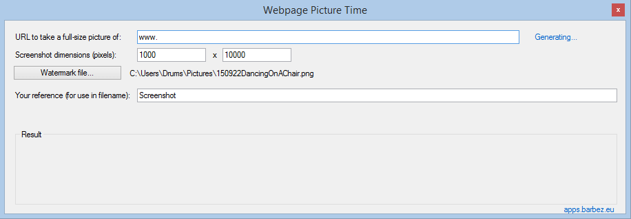 Screenshot One Pro back in 2015 – called 'Webpage Picture Time', go figure