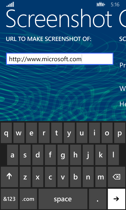 Screenshot One - Windows Mobile