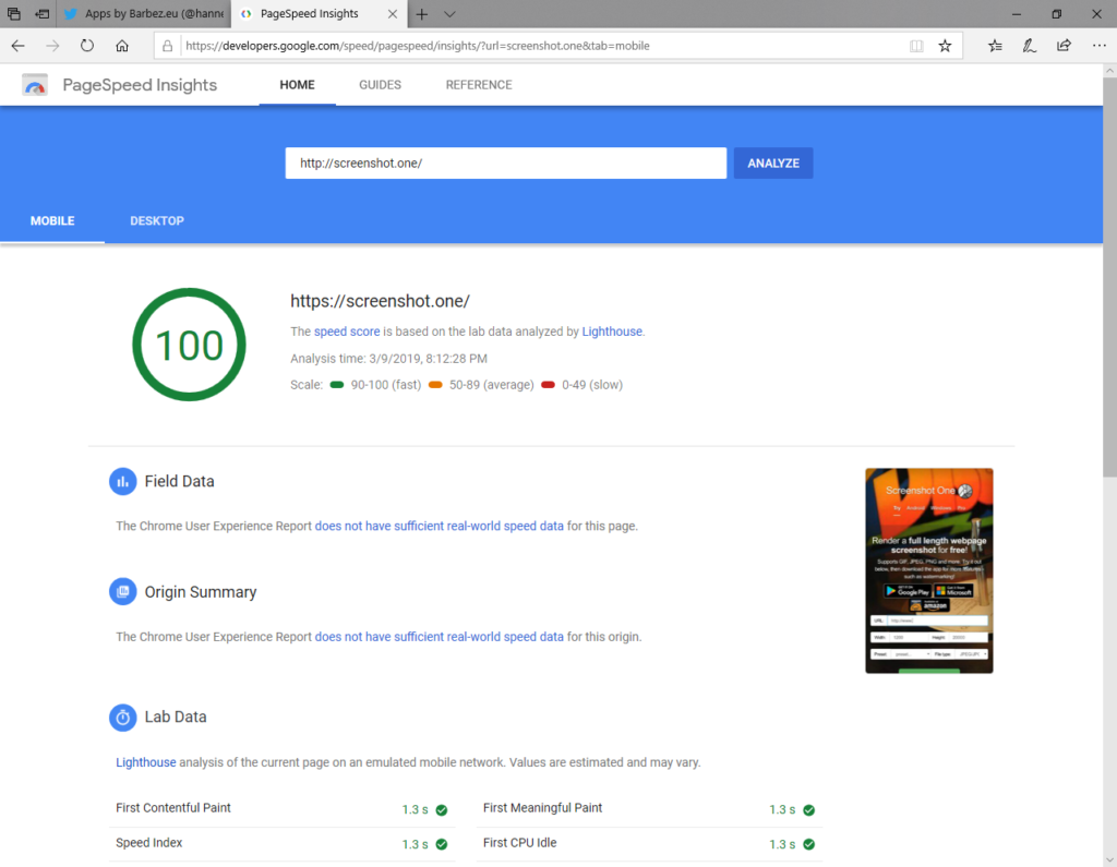 Screenshot One for Web tried very hard to please Google Pagespeed Insights - successfully.
